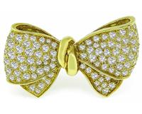 Estate 5.00ct Diamond Gold Bow Pin