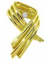 Estate Dankner 0.15ct Diamond Ribbon Pin