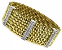 Estate 1.00ct Diamond Gold Mesh Flexible Bracelet