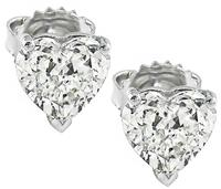 Estate 2.02ct Diamond Heart Stud Earrings