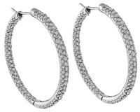 Estate 6.00ct Diamond Hoop Earrings