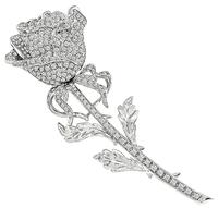 Estate 4.00ct Diamond Long Stem Rose Pin