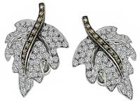 Estate 5.00ct Diamond Maple Earrings