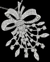 1950s 2.75ct Diamond Floral Pin / Pendant