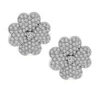 Estate 3.75ct Diamond Flower Earrings