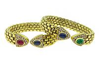 Estate 1.50ct Diamond Precious Stone Gold Bangle Set