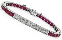Estate 2.00ct Diamond Ruby Bracelet