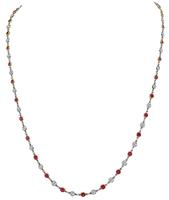 Estate 2.98ct Diamond 3.50ct Ruby By The Yard Necklace