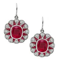 Estate 4.00ct Ruby 0.90ct Diamond Earrings