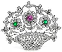 Estate 2.00ct Diamond Emerald Ruby Basket Pin