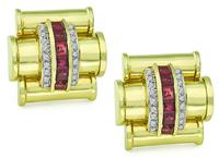 Estate 1.00ct Diamond Ruby Gold Earrings