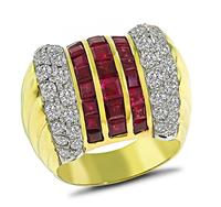 Estate 1.52ct Diamond 2.92ct Ruby Gold Ring