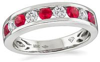 Estate 0.50ct Ruby 0.30ct Diamond Wedding Band