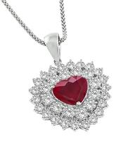 Estate 3.01ct Diamond 1.99ct Ruby Heart Pendant Necklace