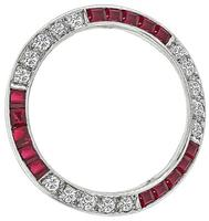 Estate 0.80ct Diamond 0.80ct Ruby Round Pin
