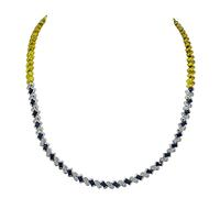 Estate 2.00ct Diamond 1.50ct Sapphire Two Tone Yellow and White Gold Necklace