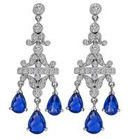 Estate 3.00ct Sapphire 1.00ct Diamond Chandelier Earrings
