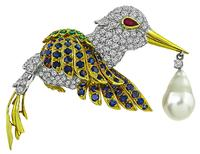 Estate 6.50ct Diamond 4.50ct Sapphire 1.00ct Emerald South Sea Pearl Humming Bird Pin