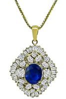 Estate 2.38ct Sapphire 2.11ct Diamond Gold Pendant Necklace