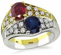 Estate 1.00ct Sapphire 1.00ct Ruby 0.95ct Diamond Ring