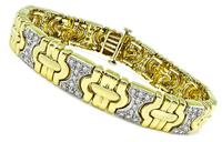 Estate 2.25ct Diamond Two Tone Yellow and White Gold Bracelet
