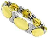 Estate 2.50ct Diamond Two Tone Yellow and White Gold Bracelet