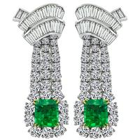 Estate 12.00ct Diamond 5.00ct Colombian Emerald Chandelier Earrings