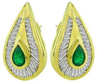 Estate 2.00ct Emerald 2.00ct Diamond Earrings