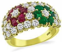 Estate 1.52ct Diamond 0.90ct Ruby 0.64ct Emerald Ring