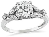 Estate GIA Certified 0.89ct Diamond Engagement Ring