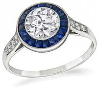 Estate GIA Certified 0.92ct Diamond Sapphire Engagement Ring
