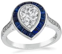 GIA Certified 1.00ct Diamond Sapphire Engagement Ring