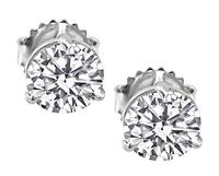 Estate GIA Certified 1.06ct and 1.07ct Diamond Stud Earrings