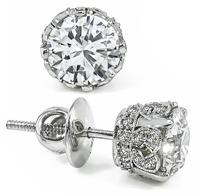 Estate GIA Certified 1.08ct and 1.02ct Diamond Stud Earrings