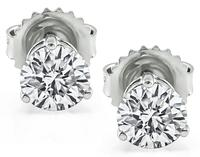 Estate GIA Certified 1.15cttw Diamond Stud Earrings