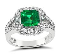 GIA Certified 1.17ct Colombian Emerald 0.96ct Diamond Engagement Ring