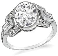 Art Deco GIA Certified 1.66ct Diamond Engagement Ring
