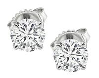 Estate GIA Certified 0.88ct and 0.87ct Diamond Stud Earrings