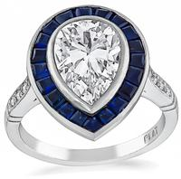 GIA Certified 1.83ct Diamond Sapphire Engagement Ring