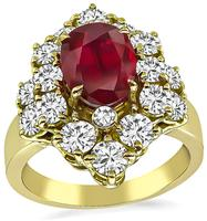 Estate GIA Certified 1.88ct Natural Ruby 2.00ct Diamond Ring