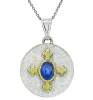 Estate GIA Certified 2.00ct Sapphire Gold Pendant