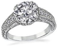 Art Deco GIA Certified 2.07ct Diamond Engagement Ring