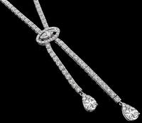 Vintage GIA Certified 2.16ct Pear Shape Diamond 5.50ct Diamond Necklace