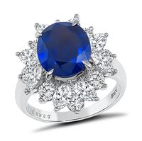 Estate GIA Certified 3.43ct Sapphire 1.90ct Diamond Ring