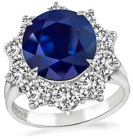 Estate GIA Cert 4.45ct Sapphire 1.70ct Diamond Engagement Ring