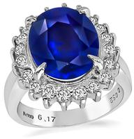 Estate GIA Cert 6.17ct Sapphire Diamond Engagement Ring