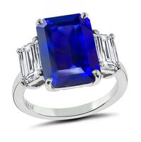Estate GIA 7.47ct Ceylon Sapphire GIA 0.77ct and 0.95ct Diamond Engagement Ring