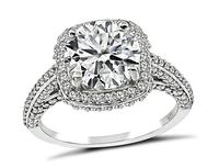 Estate GIA Certified 2.02ct Diamond Engagement Ring and Wedding Band Set