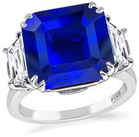 GIA Certified 8.10ct Ceylon Sapphire 1.10ct Diamond Engagement Ring