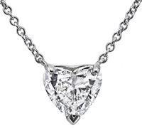 Estate GIA Certified 1.43ct Diamond Pendant Necklace